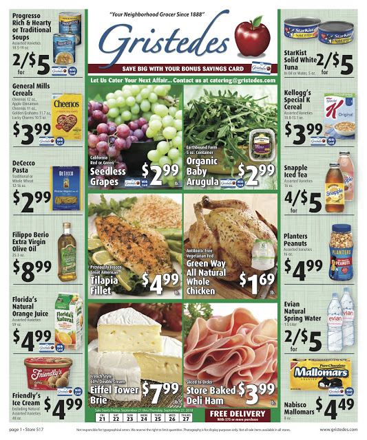 CHECK OUT ROOSEVELT ISLAND GRISTEDES Products, SALES & SPECIALS For September 21 - September 27