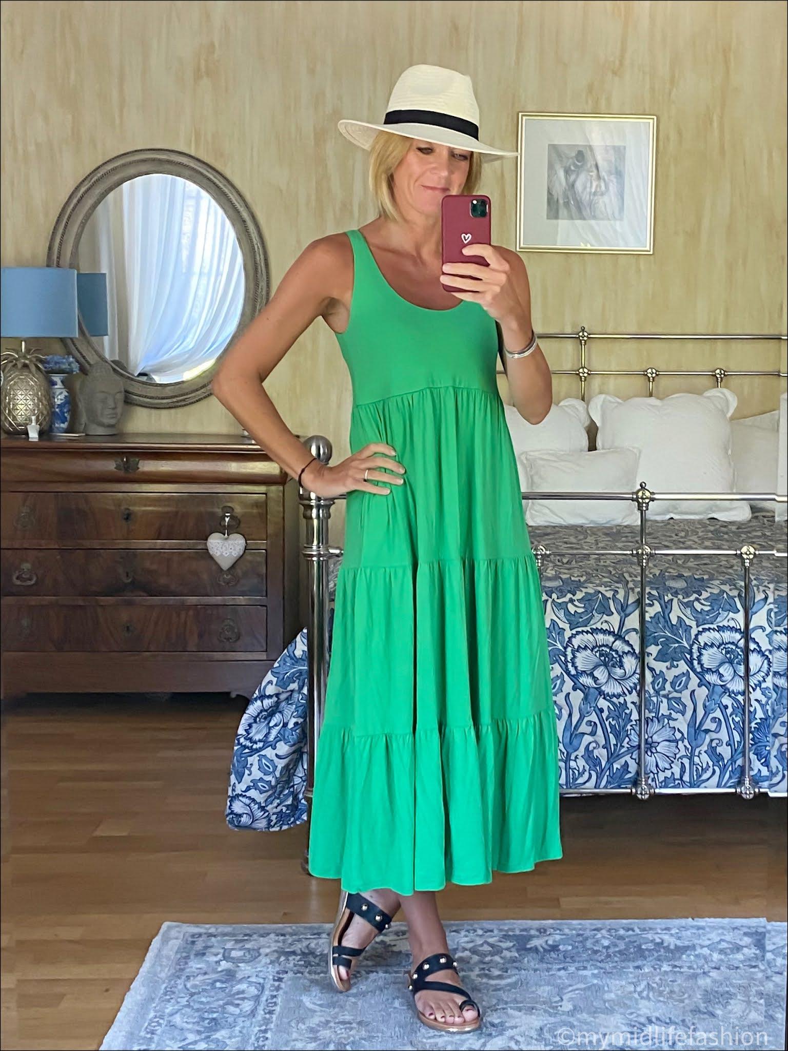my midlife fashion, Baukjen Beth dress, Zara Panama hat, carvela karafe sandals
