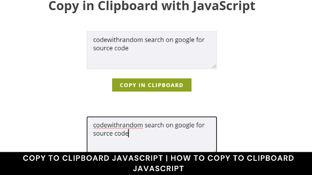copy to clipboard javascript   how to copy to clipboard javascript