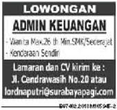 Bursa Kerja Terbaru Sebagai Admin Keuangan Untuk ditempatkan di Surabaya Terbaru Maret 2018