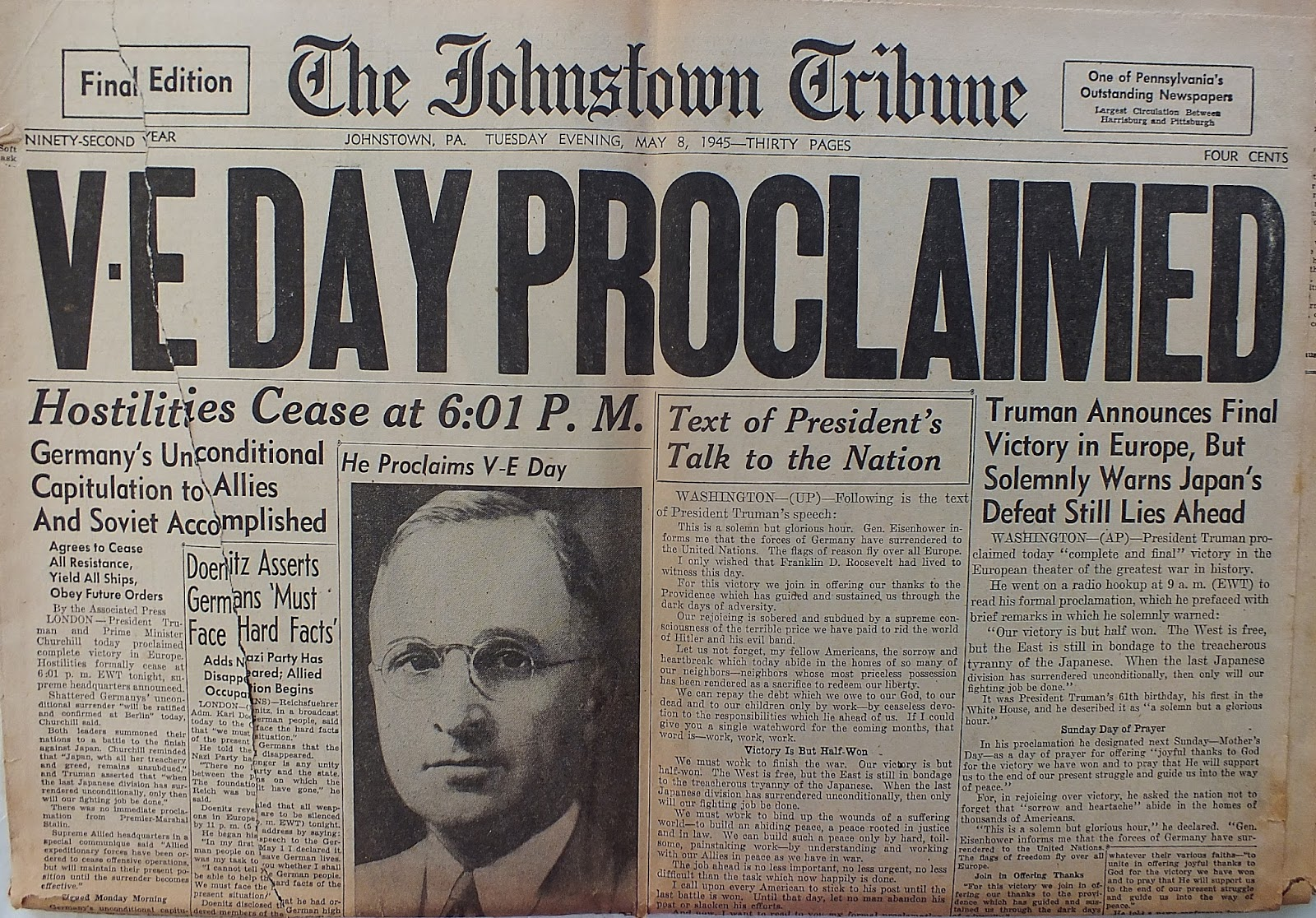 Vintage Johnstown May 8 1945 V E Day Proclaimed