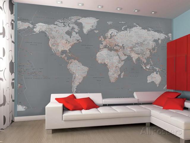 världskarta tapet grå fototapet vardagsrum