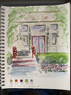 Urban Sketch Watercolor Painting 808 W Franklin Richmond Virginia Building Home Historic Handmade Sharon Warren FluterbyButterfly FlutterbyFoto Painting