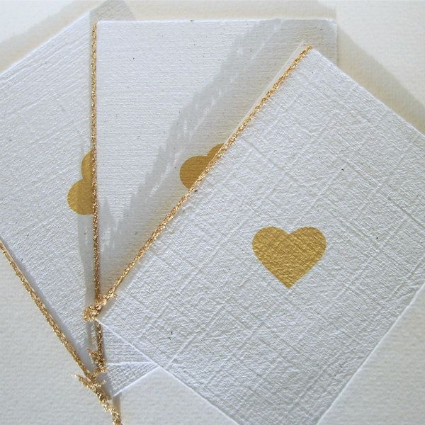 handmade paper wedding cards with stamped heart