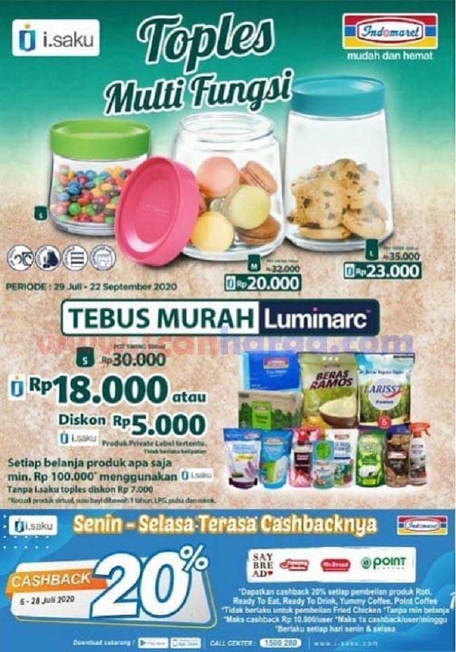 Indomaret Promo Tebus Murah LUMINARC Toples Periode 29 Juli - 22 September 2020
