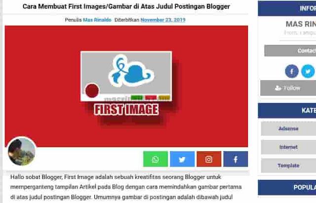 Cara Membuat First Images/Gambar di Atas Judul Postingan Blogger 1
