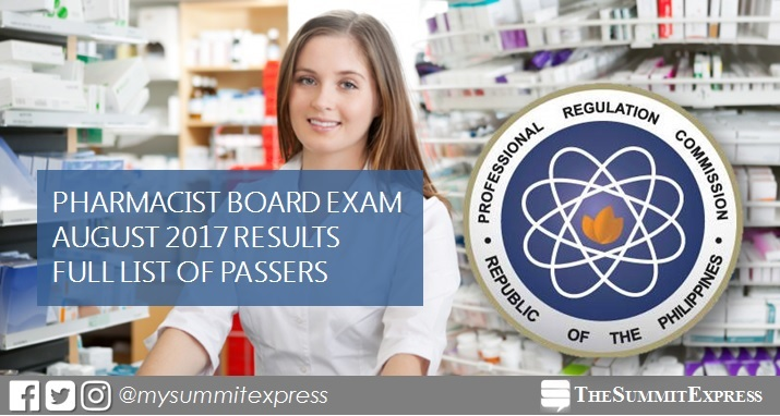 August 2017 Pharmacist board exam passers list, top 10