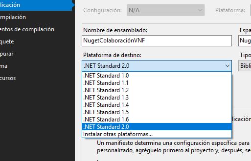 Selección de versión de .NET Standard