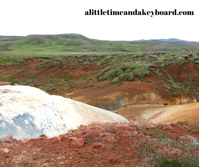 Brilliant colors due to reactions at Seltún Geothermal Area meld together.