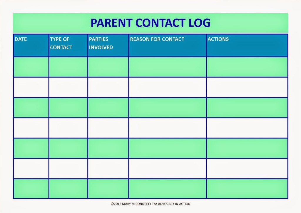 Parent Contact Log Template in excel - Excel Template