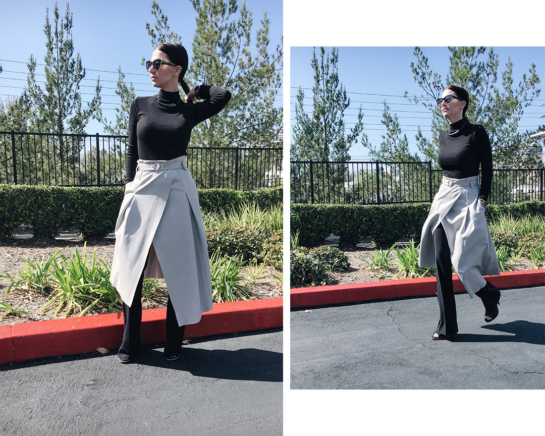 wrap skirt, skirt over pants, layering outfit, spring 2016, trends, street style, tourdestfu, turtleneck