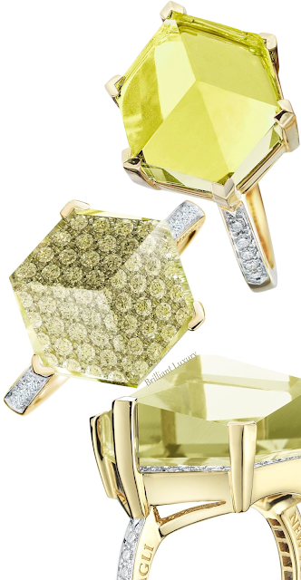 Paolo Costagli lemon citrine, diamonds ring & green amethyst ring #brilliantluxury