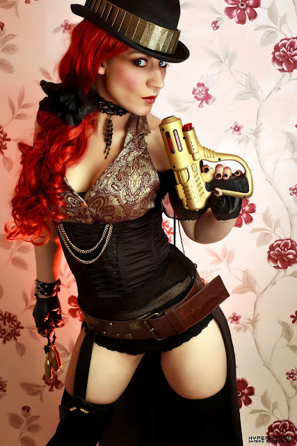 Steampunk Fashion (women's clothing, hat, choker, gun, belt, gloves, lingerie)