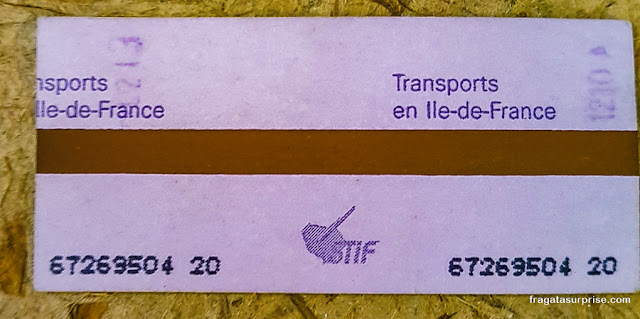 Bilhete para o metrô de Paris