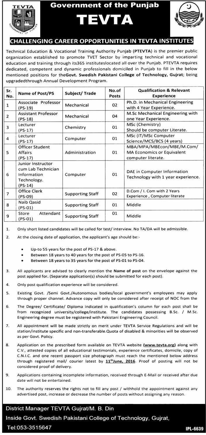 Teachers & Admin Jobs in Pakistan TEVTA  Jobs in Gujrat