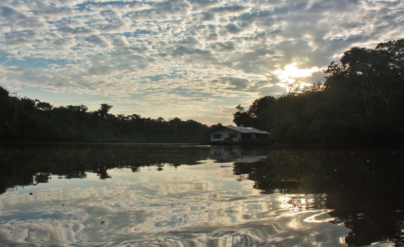 Reflexo nas águas do Rio Japurá, na Reserva Sustentável Mamirauá.