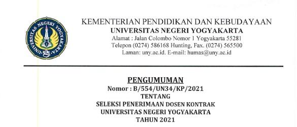 Lowongan Penerimaan Dosen Kontrak Universitas Negeri Yogyakarta