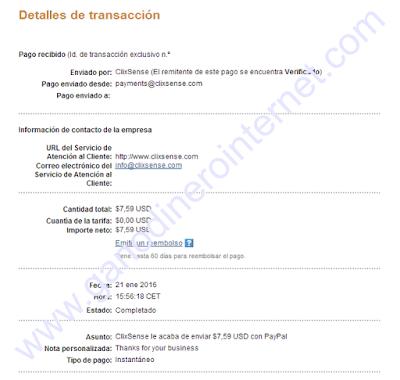 Comprobante de pago de ClixSense