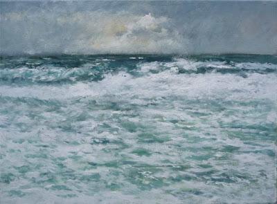 Marina al oleo de un temporal en la costa de Rubén de Luis