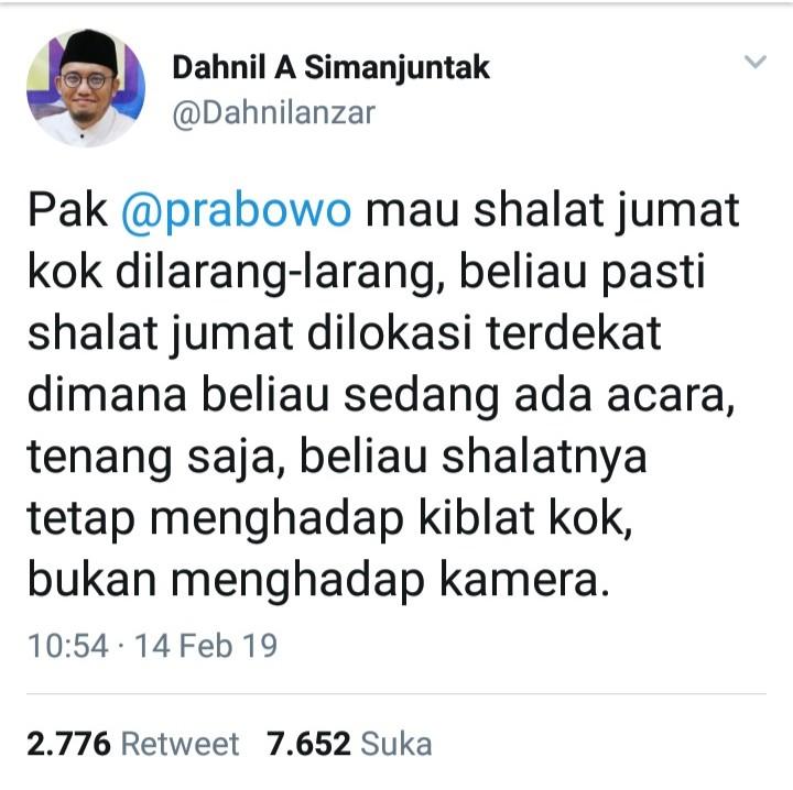 Prabowo Dilarang Shalat Jum'at, Dahnil Lontarkan 2 Sindiran Maut