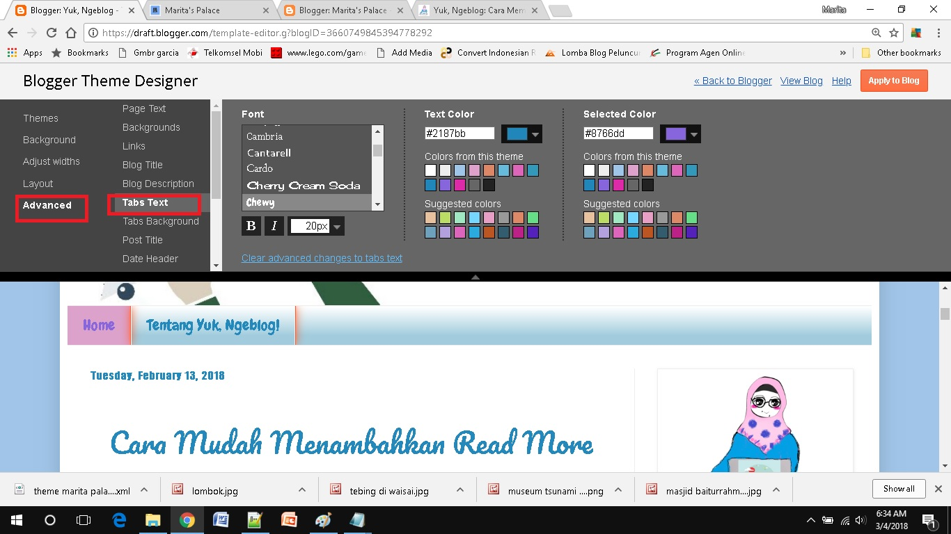 mendesain template blog sederhana pilih warna tabs blog