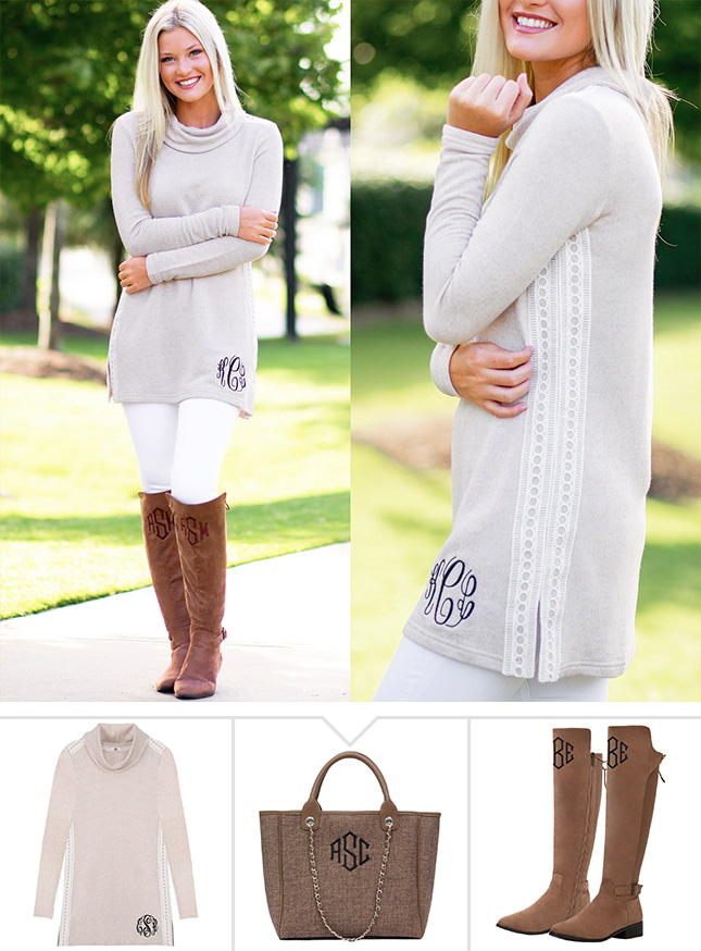 tan tunic with cowl neck outfit