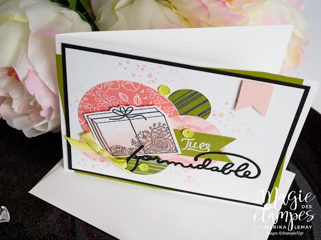 Carte d'anniversaire Stampin'Up! faite avec le jeu d'étampes Gâteau élégant