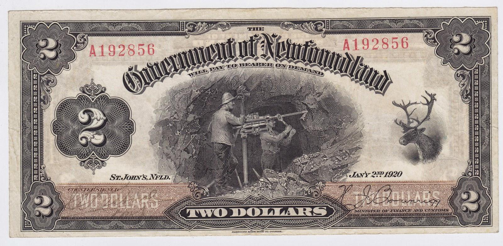 Newfoundland banknotes 2 Dollar Bill