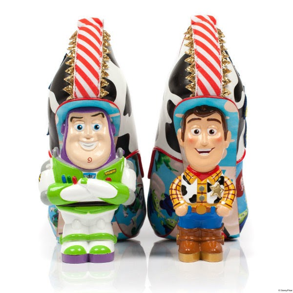 Buzz Lightyear and Woody Toy Story character heels on shoes with red stripe trim