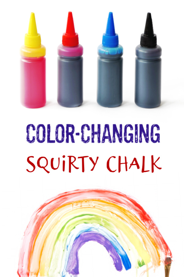 Make sidewalk chalk for kids that changes color as they play!  Only 3 ingredients! #sidewalkchalk #sidewalkpaint #squirtychalk #activitiesforkids #growingajeweledrose