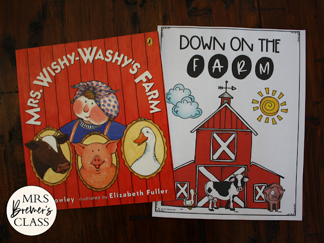 Mrs Wishy Washy's Farm book study literacy unit with Common Core aligned companion activities and a class book for K-1