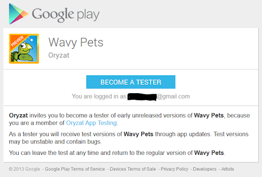 "Oryzat: Our First Android Game ""Wavy Pets"" Is Now Available In Google Play Store - Through Invitation"