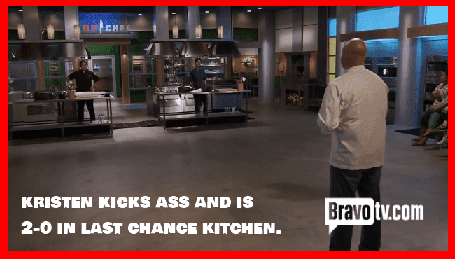 Top Chef's Kristem Kish Josie Malave-Smith and Tom Colicchio in Last Chance Kitchen