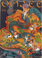 Cover of the book Omjee the Wizard. An old man with white beard and purple turban is at the top right corner of the cover, looking down into an orange and yellow carpet with red fringes. Within the carpet are creeks and green leaves where little children with fairy wings are running around.