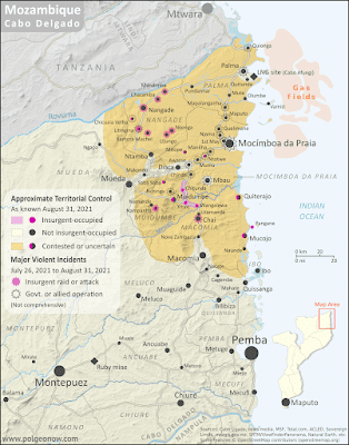 Mozambique: Cabo Delgado conflict map - August 2021: Detailed, close-up control map showing areas occupied by so-called ISIS-linked rebels in northern Mozambique (also known as Ahlu Sunnah Wa Jama, ASWJ, Ansar al-Sunnah, or Al Shabaab), plus towns and villages raided by the insurgents over the past eight months. Situation after Rwandan military intervention that took back Mocímboa da Praia and other towns from the rebels. Shows roads, rivers, and terrain, and includes key locations of the insurgency such as Palma, Awasse, Nchinga, Ntotwe, the Total LNG site and natural gas fields, and many more towns and villages. Updated to August 31, 2021. Colorblind accessible.