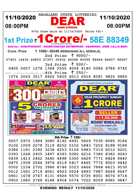 Lottery Sambad 11-10-2020, Lottery Sambad 8 pm results, Nagaland Lottery Results, Lottery Sambad Today Results Live, Night results