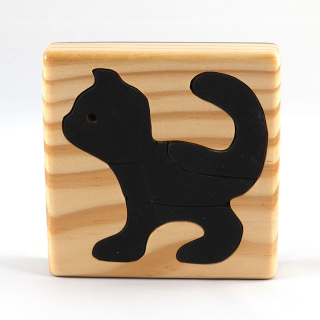 Handmade Wooden Toy Tray Puzzle, Black Kitten, Very Easy To Assemble, Finished Non-toxic Acrylic Paint and Amber Shellac