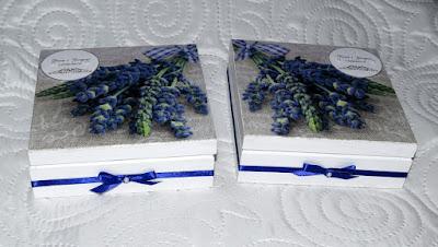 Lawendowe pudełka ślubne decoupage oraz scrapbookowa kartka urodzinowa.