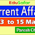 Current Affairs 13 to 15 May 2017 Video
