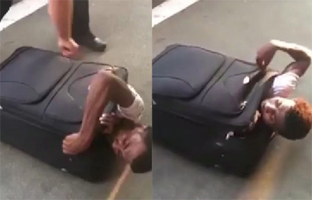 Watch moment cops find illegal immigrant stuffed inside a SUITCASE