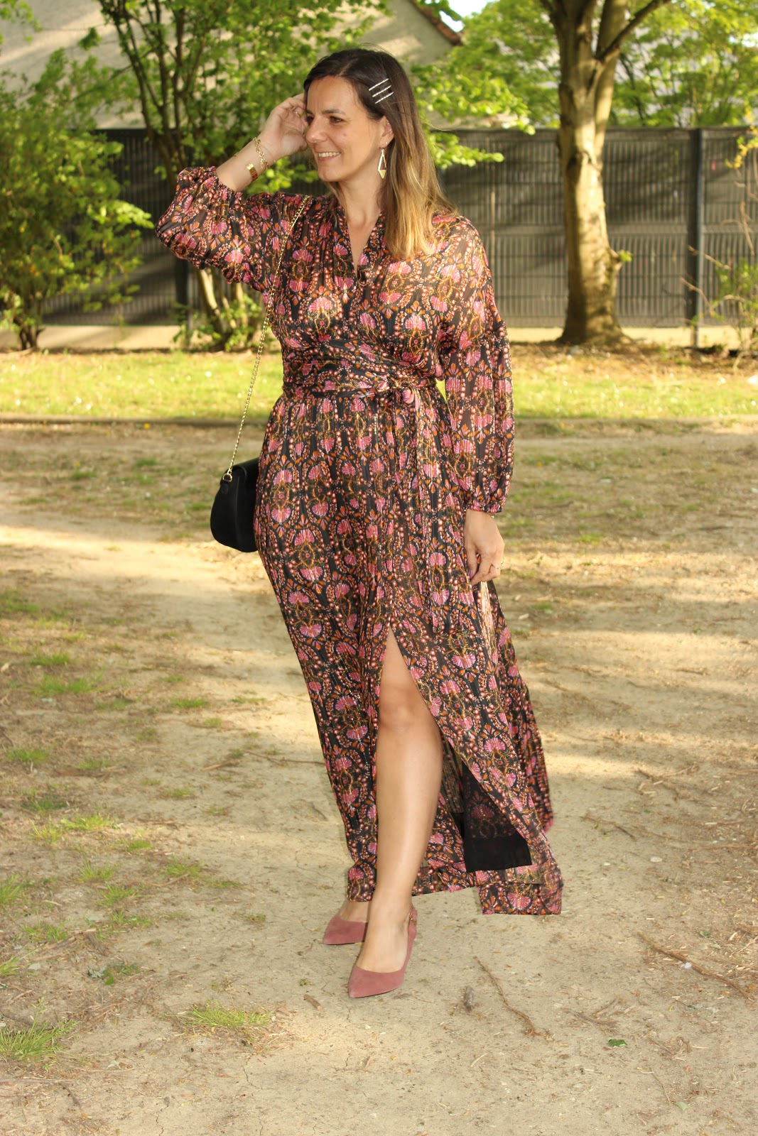 robe zara, escarpins rose minelli, les petites bulles de ma vie