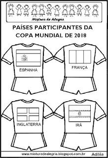 Camisas com países copa mundial 2018