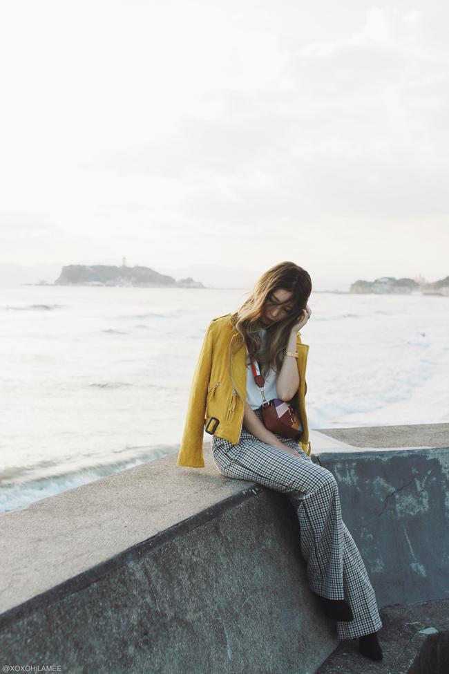 Japanese Fashion Blogger,Mizuho K,2017/11/11OOTD,SheIn-white tee,CHICWISH-yellow biker jacket,ZAFUL-multi color crossbody bag,Farfetch-twinset-glen check wide leg pants,SheIn-sock boots,SHICHIRIGAHAMA