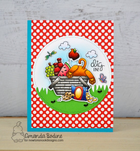 Picnic Cat Card by Amanda Bodine | Newton's Picnic Stamp Set and Land Borders Die Set by Newton's Nook Designs #newtonsnook #handmade