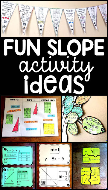 Are you searching for fun algebra ideas for teaching and reviewing slope? In this post are a bunch of slope activities for 8th grade math and algebra including a free pdf slope activity.