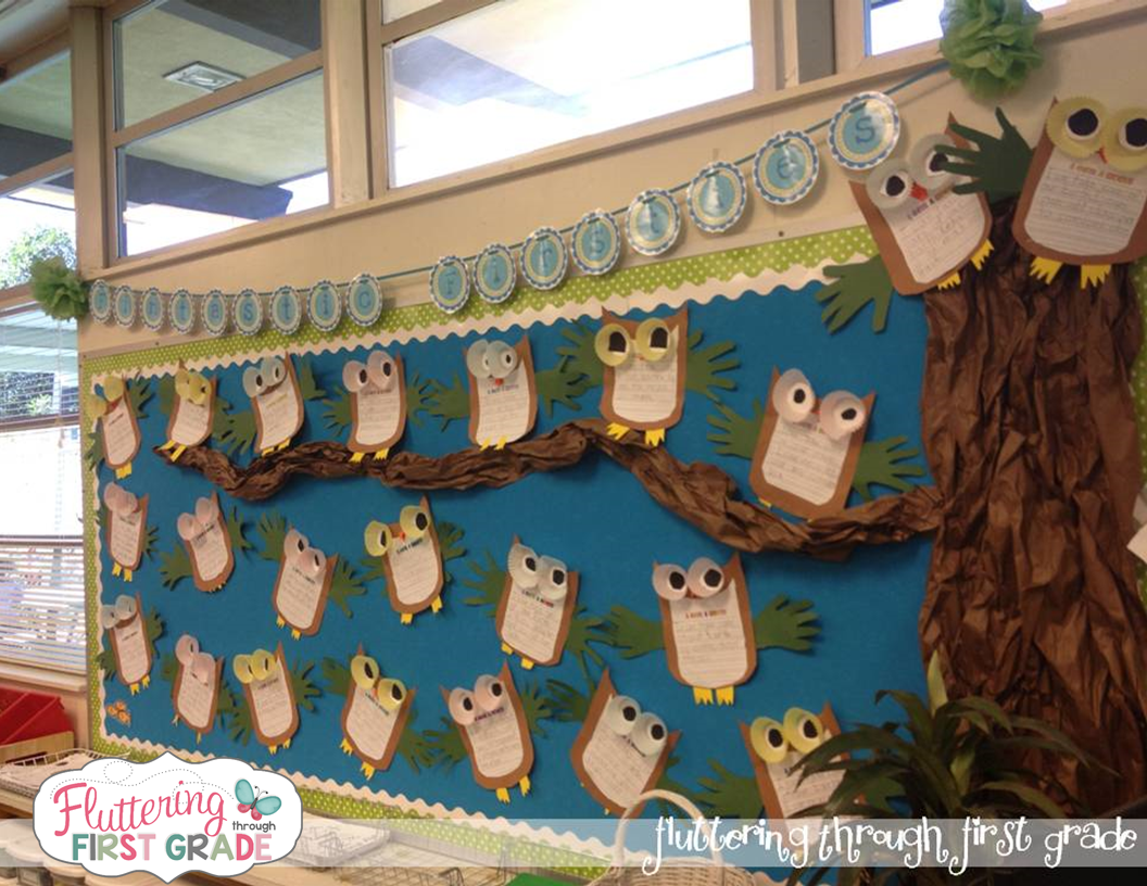 Earth day lesson plans. I give a hoot Earth week bulletin board idea for April classroom decor.