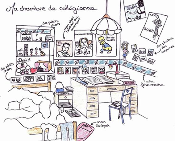 Ma chambre de collégienne dessinée