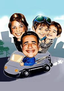 caricatura de família viagem