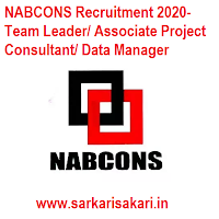 NABCONS Recruitment 2020- Team Leader/ Associate Project Consultant/ Data Manager