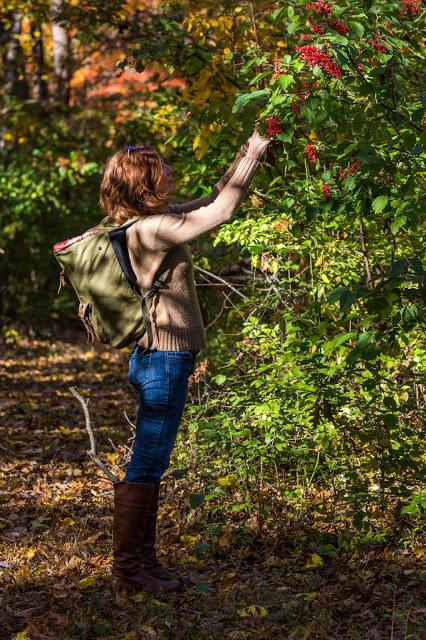 Marie Viljoen picking viburnum